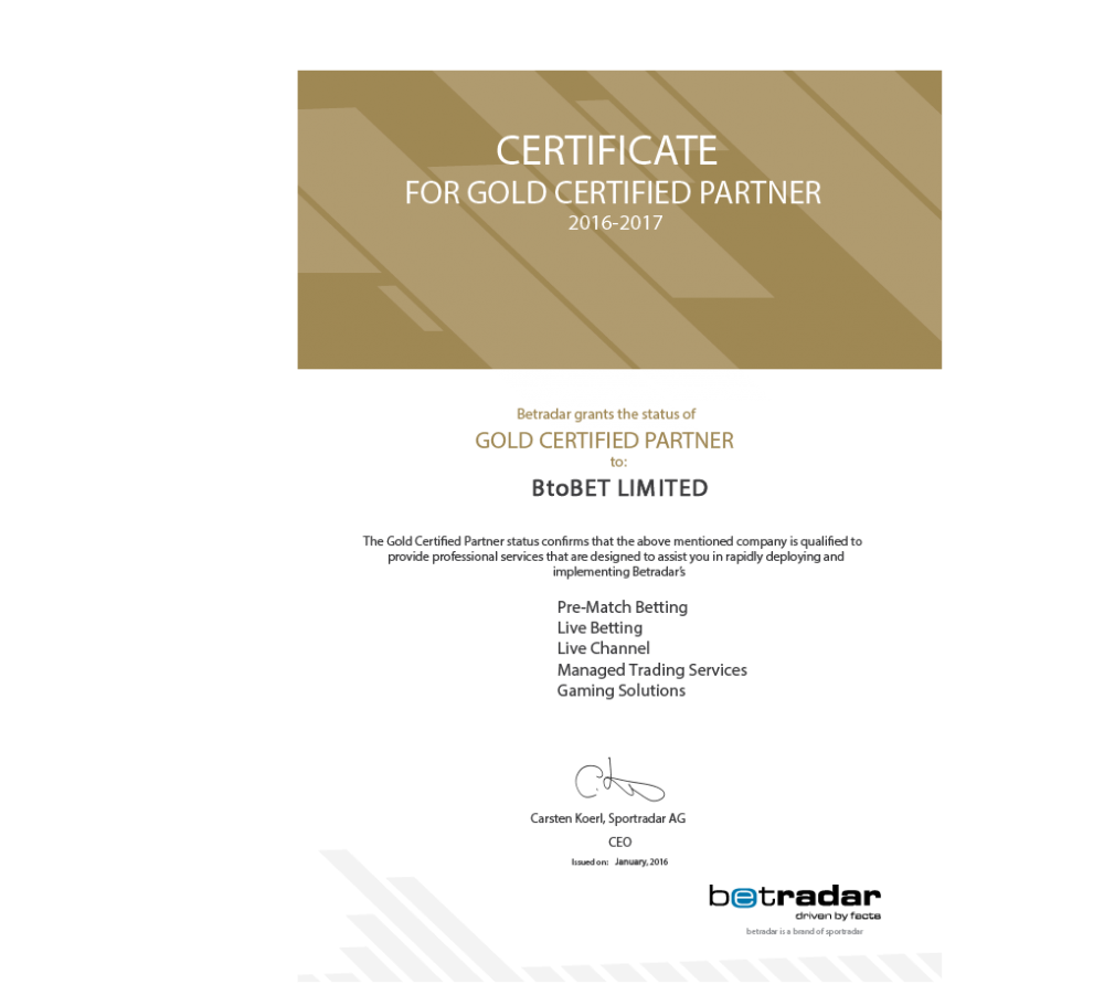 BtoBet_Gold Certified Partner_paper